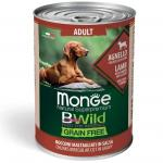 MONGE DOG WET BWILD Adult ягненок тыква цукини, 400 грамм